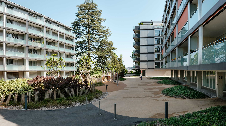 De grands espaces délimités par des chemins et de la végétation facilitent les rencontres entre habitants. Des jeux en bois sont à disposition des enfants du quartier.