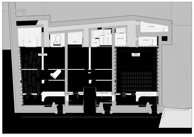 Distribution de l'espace après le réaménagement de L'Abri.